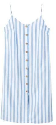 MANGO Floral print linen-blend dress