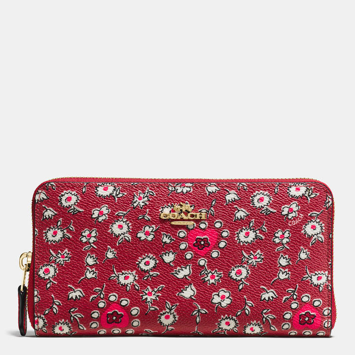 Coach   COACH Coach Accordion Zip Wallet In Wild Hearts Print Coated Canvas