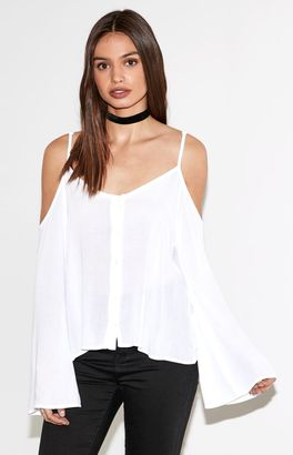 Kendall & Kylie Button-Front Cold Shoulder Top $36.95 thestylecure.com