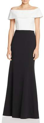 166730bd3f5 Aqua Off-the-Shoulder Color-Block Gown - 100% Exclusive