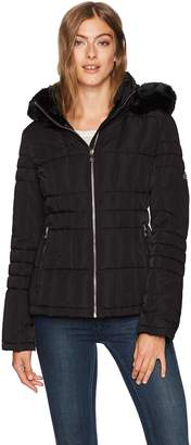 Calvin Klein Women's Down Jacket with Faux Fur Trimmed Hood