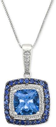 """LeVian Le Vian Multi-Gemstone (2-5/8 ct. t.w.) & Diamond (1/10 ct. t.w.) 18"""" Pendant Necklace in 14k White Gold"""