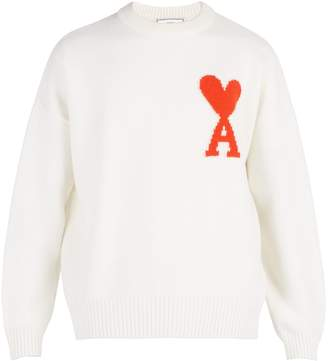 Ami Heart-intarsia merino-wool sweater