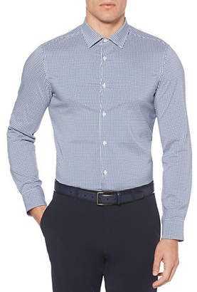 Perry Ellis Big and Tall Checkered Long-Sleeve Sport Shirt