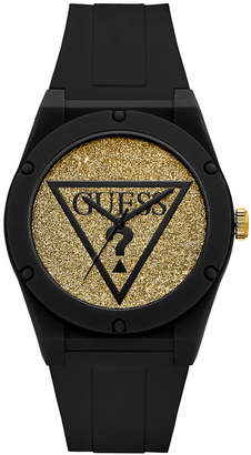 GUESS Women Black Iconic Logo Glitter Silicone Watch 42MM