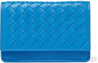 Bottega Veneta - Intrecciato Leather Cardholder - Blue $320 thestylecure.com