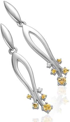 Breuning 14K White Gold Yellow Sapphire & Diamond Drop Earrings