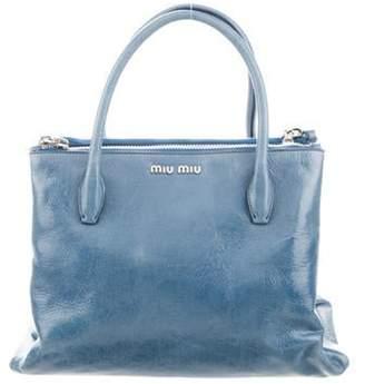 Miu Miu Vitello Shine Shopping Tote silver Vitello Shine Shopping Tote