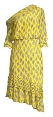 Saloni Lexie Asymmetrical Ruffle Dress