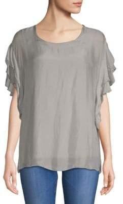 Le Marais Flutter-Sleeve Silk Blouse