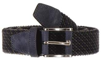 Black Military Green and Navy Nubuck Trimmed Woven Belt