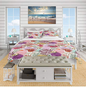 Designart 'Coral Reef And Fishes Pattern' Nautical and Coastal Duvet Cover Set - Queen Bedding