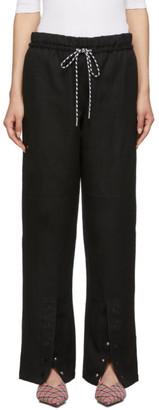 Proenza Schouler Black Washed Linen Drawstring Lounge Pants