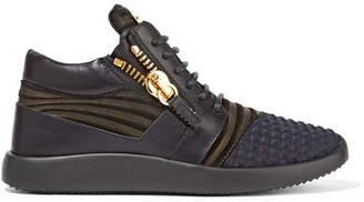 Giuseppe Zanotti - Leather, Nubuck And Faille Sneakers - Black $695 thestylecure.com
