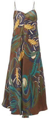 La Prestic Ouiston Floral Print Silk Twill Midi Dress - Womens - Brown Multi