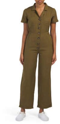 Juniors Button Front Overall Jumpsuit