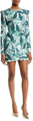 Rachel Zoe Amelia Sequin Palm-Print Open-Back Mini Dress