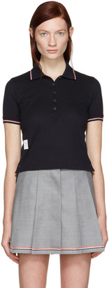 Thom Browne Navy Short Sleeve Polo $490 thestylecure.com