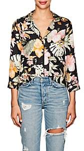 Barneys New York Women's Tropical-Floral Silk Pajama-Style Blouse - Black
