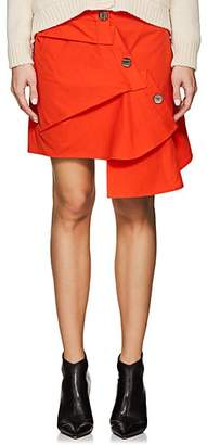 Ji Oh Women's Asymmetric Cotton Poplin Skirt - Orange