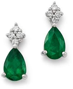 Bloomingdale's Emerald & Diamond Teardrop Earrings in 14K White Gold - 100% Exclusive