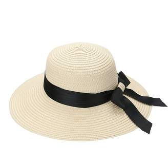 at Amazon Canada · Jocestyle Womens Summer Round Top Casual Fashion Bowknot  Holiday Wide Brim Sunhat Beach Straw Hats fe08ec1c814f