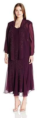 R & M Richards R&M Richards Women's Plus Size Beaded Chiffon Jacket Dress
