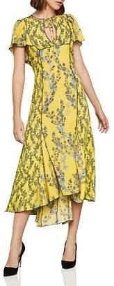 BCBGMAXAZRIA Botanical Print High/Low Midi Dress
