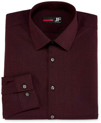 Jf J.Ferrar Easy-Care Solid Long Sleeve Broadcloth Dots Dress Shirt