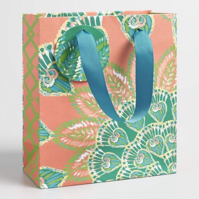 Small Jungle Peacock Kraft Gift Bag