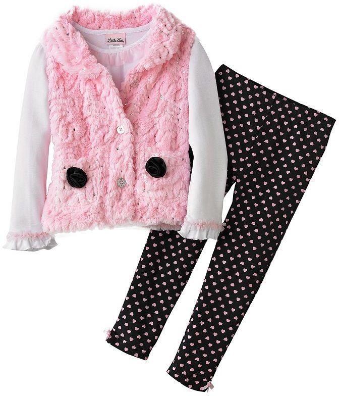 Little Lass sequined faux-fur vest set - girls 4-6x