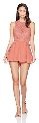 Keepsake The Label Women's Be The One Lace Top with Pleated Shorts Sheer Romper