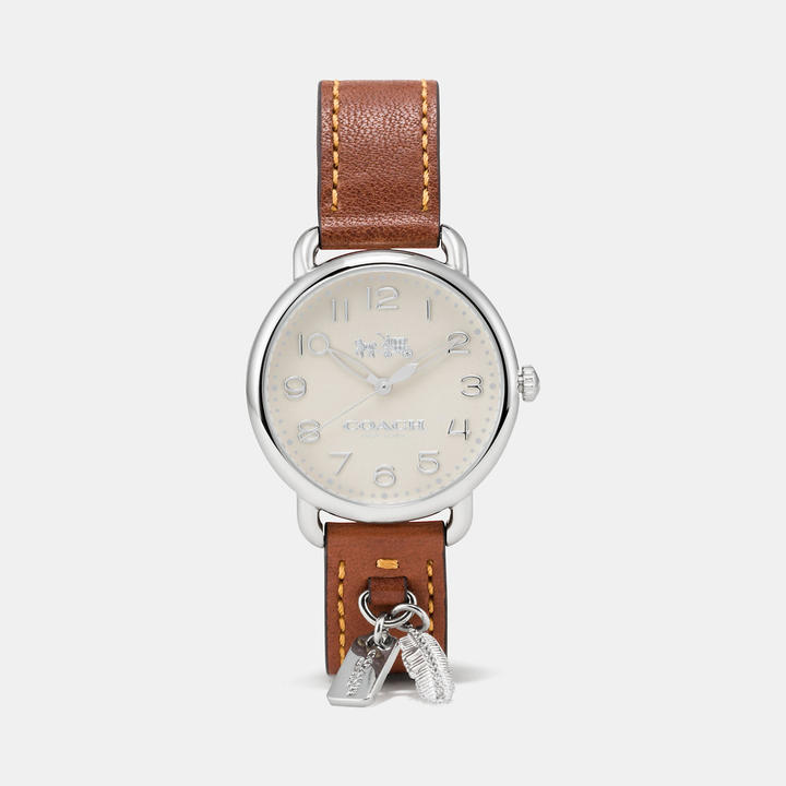 Coach  COACH Coach Delancey Leather Strap Watch With Feather Charm