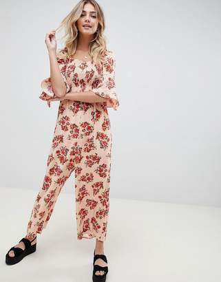 8e29eb52cd Asos Design DESIGN jumpsuit with shirred bodice in ditsy floral print