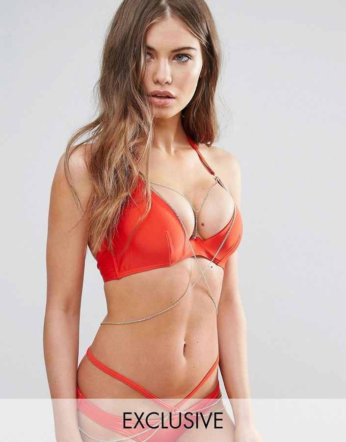 Wolf & Whistle Plunge Bikini Top With Exposed Cradle & Chain DD-G Cup
