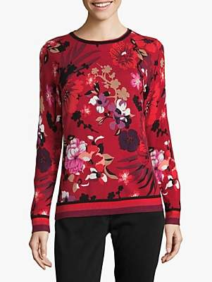 Betty Barclay Floral Print Jumper, Red/Black