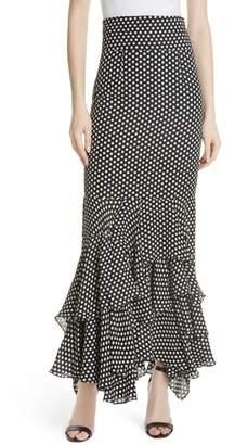 Milly Dot Print Silk Georgette Skirt