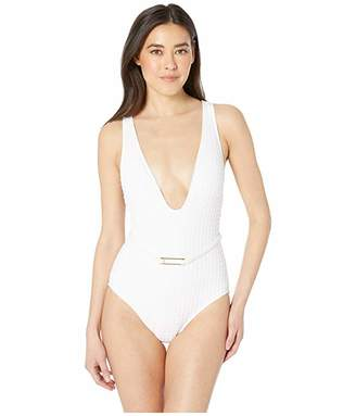 La Blanca Get To The Point Belted Plunge Mio One-Piece Swimsuit