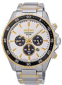 Seiko Men's Stainless Steel Two-Tone Solar Chronograph Watch