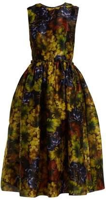 Dolce & Gabbana Grape Print Silk Organza Midi Dress - Womens - Black Multi
