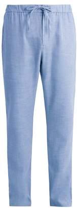 Frescobol Carioca - Drawstring Waist Linen Blend Trousers - Mens - Blue