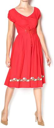 Aryeh Red Corset Waist Dress