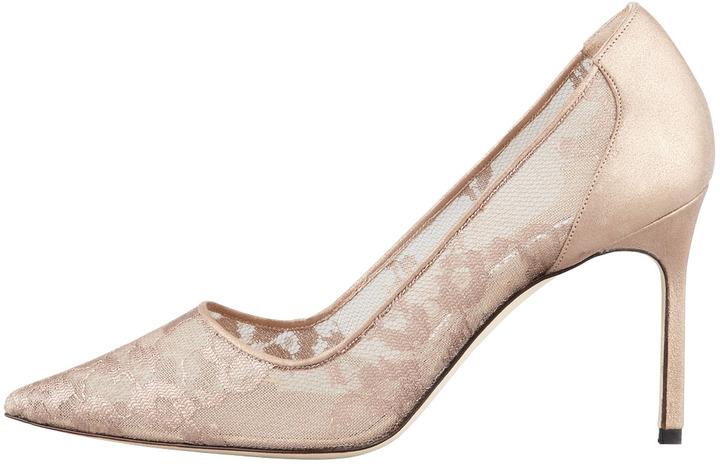 Manolo Blahnik BB Metallic Lace Pointed-Toe Pump, Nude/Gold