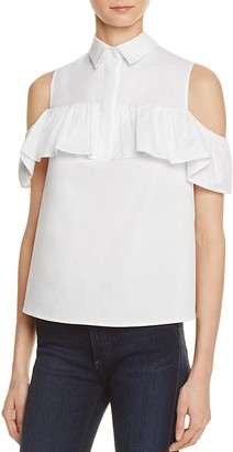 AQUA Collared Off-the-Shoulder Ruffle Shirt - 100% Exclusive $58 thestylecure.com