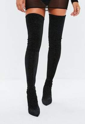 Missguided Black Glitter Velvet Over The Knee Boots