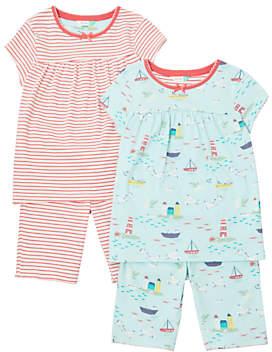 John Lewis Girls' Seaside Pyjamas, Pack of 2, Multi