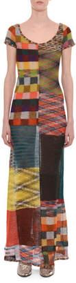 Missoni Scoop-Neck Cap-Sleeve A-Line Patchwork Dress