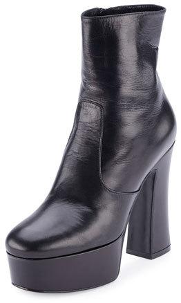 Saint LaurentSaint Laurent Candy Leather Platform 125mm Boot, Black