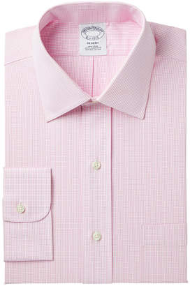 Brooks Brothers Men Milano Extra-Slim Fit Non-Iron Pink Gingham Dress Shirt