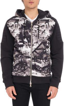 Balmain Men's Graffiti-Print Zip-Front Hoodie Sweatshirt